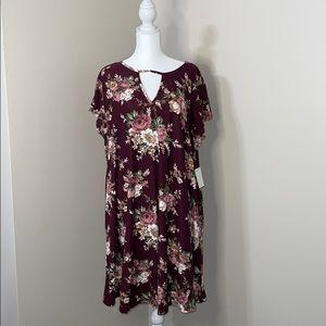 Vibe Sportswear Short Sleeved Floral Swing Dress